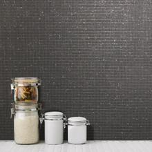 Kitchen Bathroom Black Glitter Mini Tile Wallpaper