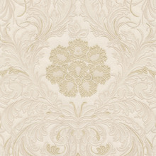 Heavy Textured Cream and Gold Floral Damask Wallpaper