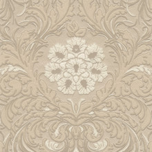 Heavy Textured Cream and Beige Floral Damask Wallpaper