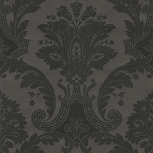 Heavy Textured Vinyl Black Damask Wallpaper
