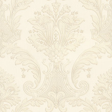 Heavy Textured Vinyl Cream Damask Wallpaper