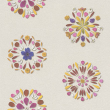Multicoloured Circle Retro Floral Wallpaper