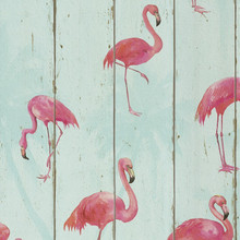 Pink Flamingos on a Sky Blue Wood Panel Wallpaper