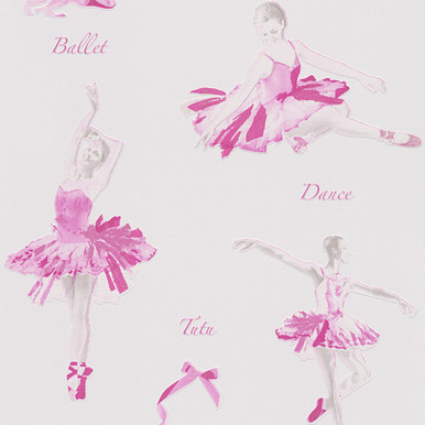 Pink And White Ballet Dancers Wallpaper For Girls Bedroom