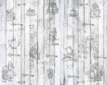 Alice in Wonderland Black and White Wood Mural