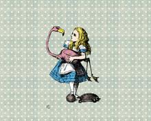 Alice in Wonderland Flamingo Mural