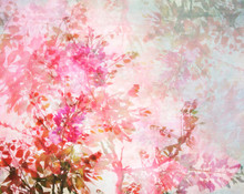 Pink Leaves Forest Mural