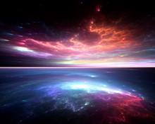 Multicoloured Space Sky Mural Wallpaper