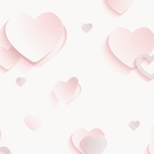 3D Pink Glitter Hearts Wallpaper