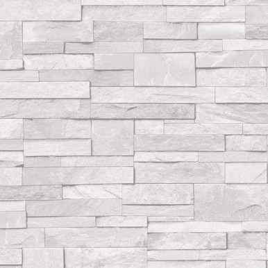 3D Brick White Stone Wall Wallpaper