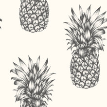 Copacabana Black and White Pineapple Wallpaper