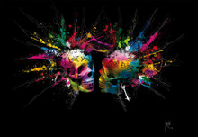 Multicoloured Skulls on Black Wall Mural