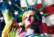 Multicoloured USA Flag Statue of Liberty Wall Mural