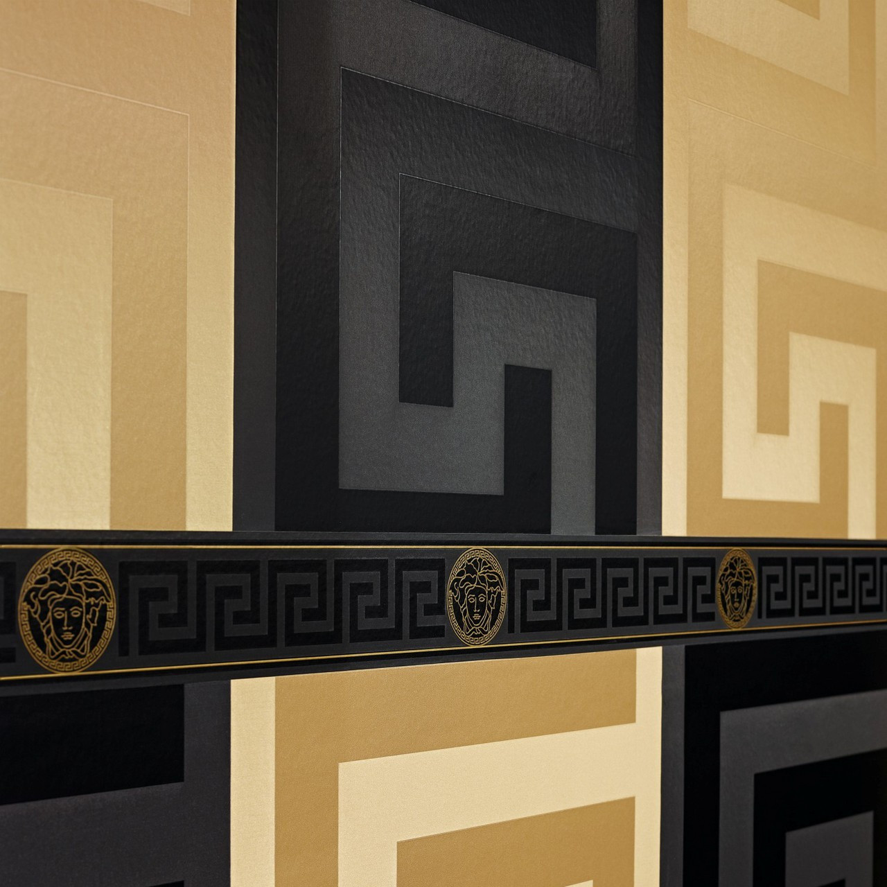 Greek key design wallpaper : Versace greek key black wallpaper as creation