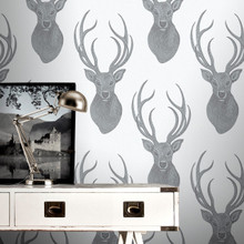 Beaded Black and Silver Stag Wallpaper