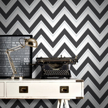Scala Large Black and White Chevron Wallpaper