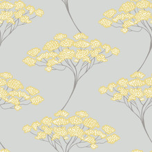Azmaara Banyan Grey and Yellow Trees Wallpaper