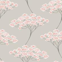 Azmaara Banyan Beige Grey and Orange Trees Wallpaper