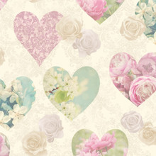 Novelty Blue and Pink Rose Hearts Wallpaper