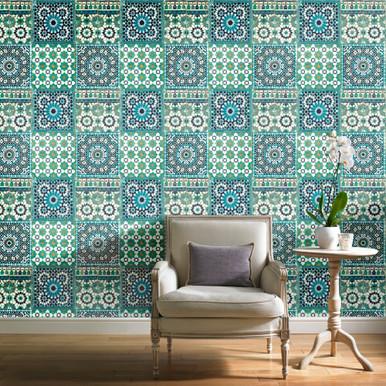 Botanical Tile Blue Wallpaper Grandeco Wallcoverings