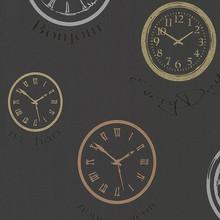Manhattan Black and Metallic Clocks Wallpaper