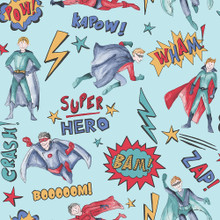 Multicoloured superhero theme wallpaper with words in a comic book style