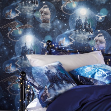 Dark blue magical castle wallpaper with blue castle cushions