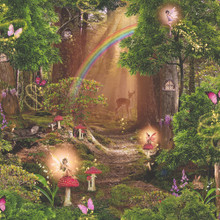 Magical fairytale style forest wallpaper with rainbow deer and tinkerbell fairy