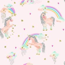 Multi and Pink Unicorns Wallpaper with Glitter