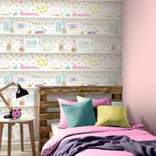 Multicoloured and white pretty items filled bookshelf wallpaper in girls bedroom