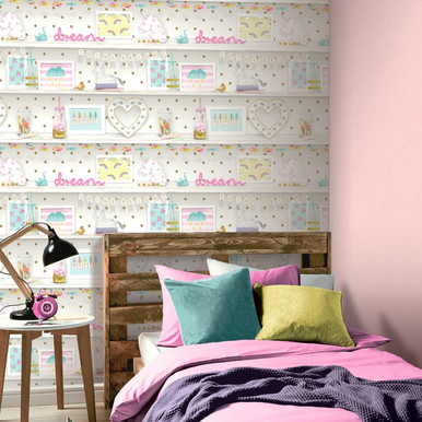 Beautiful Multicoloured And White Pretty Items Filled Bookshelf Wallpaper In Girls  Bedroom