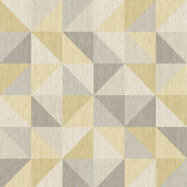 Yellow and grey triangle squares geometric wallpaper