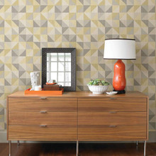 Yellow and Grey Squares Wallpaper on Wall