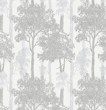 Light silver and grey trees on white wallpaper