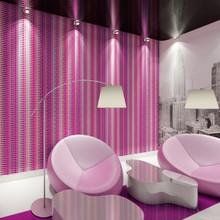 Pink and purple ultra modern stripe wallpaper in room