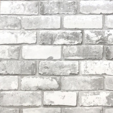 White and Light Grey Brick Wallpaper