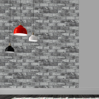 Grey and silver brick wallpaper in kitchen room