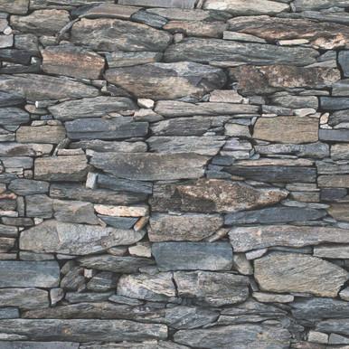 Natural Grey Stone Wallpaper 3D Effect Wall Pattern