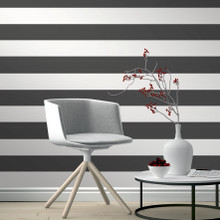 Black and White Horizontal Stripe Wallpaper in Room
