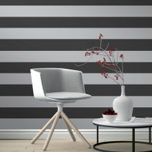 Black and Silver Horizontal Stripe Wallpaper