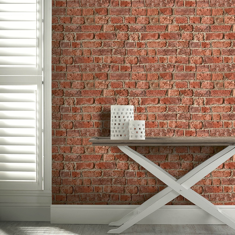 Red brick wallpaper 3d wall effect by arthouse 696600 for 3d brick wallpaper uk
