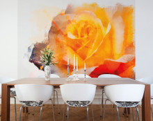 Painted Yellow Rose Mural on Wall