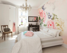 Large Sparkling Pink Roses Wall Mural in Room