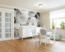Monotone Photographic Roses Mural on Wall
