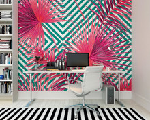 Green Diamonds and Pink Fan Leaf Mural in Room