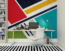 Multi-coloured Retro Shapes Mural in Room