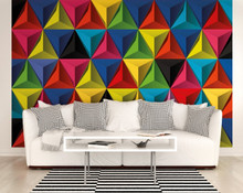Multi 3D Triangles Mural in Room