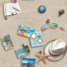 Holiday Items on Sandy Beach Wallpaper