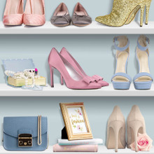 Pink and Blue Ladies Shoes on Bookshelf Wallpaper
