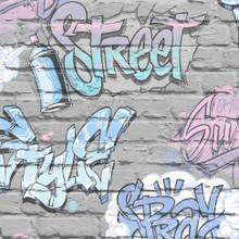 Blue Graffiti on Silver Grey Brick Effect Wallpaper